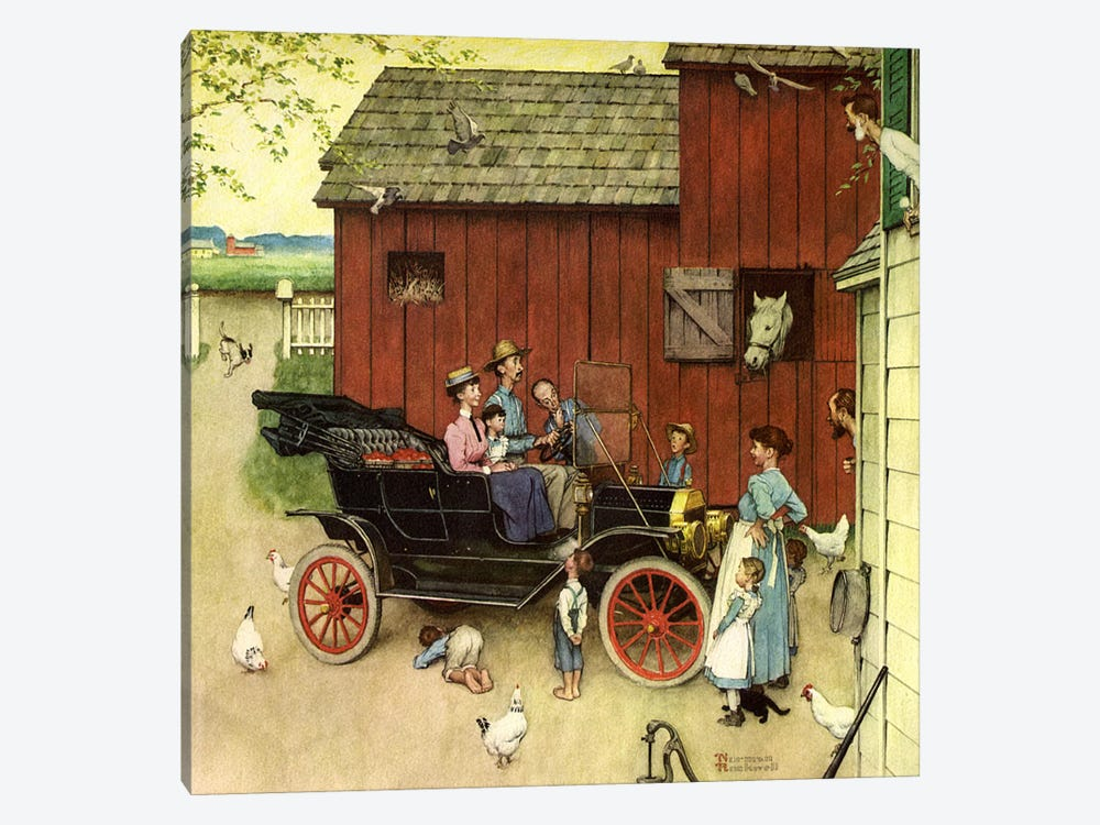 The Farmer Takes a Ride by Norman Rockwell 1-piece Canvas Art Print