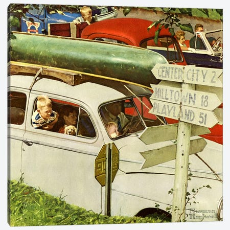 Crossroads on Sunday Canvas Print #NRL318} by Norman Rockwell Art Print
