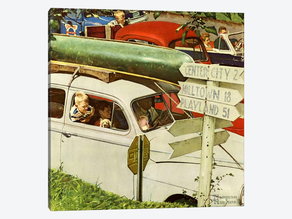 Crossroads on Sunday by Norman Rockwell 1-piece Canvas Wall Art