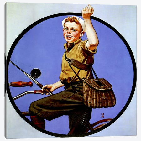Off to Fish on a Bike Canvas Print #NRL319} by Norman Rockwell Art Print