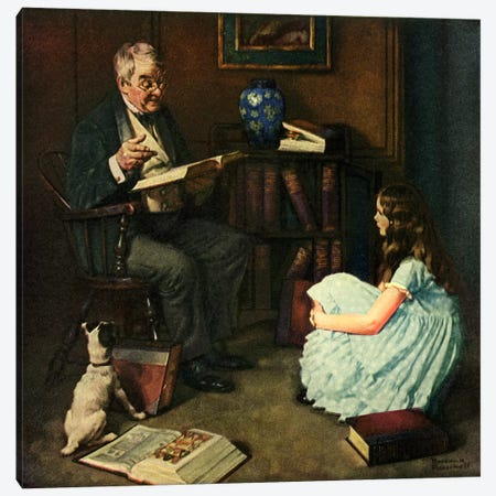 All The World's Knowledge Can Now Be Yours Canvas Print #NRL321} by Norman Rockwell Canvas Artwork