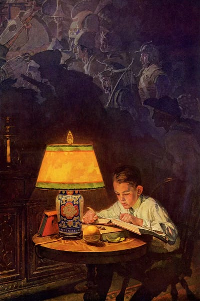 Boy Reading of Adventure Canvas