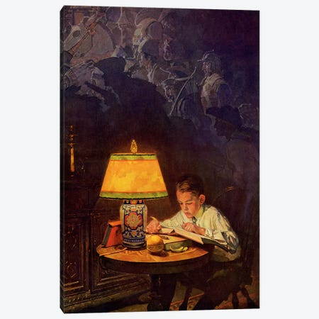 Boy Reading of Adventure Canvas Print #NRL322} by Norman Rockwell Canvas Artwork