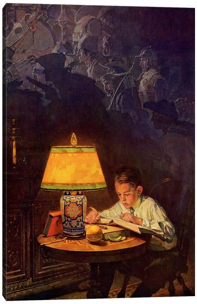 Boy Reading of Adventure Canvas Print #NRL322