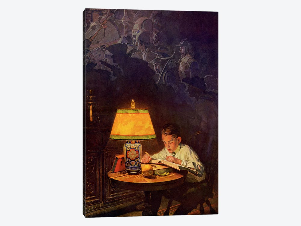 Boy Reading of Adventure by Norman Rockwell 1-piece Canvas Print