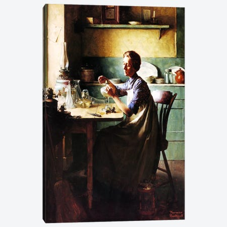 But You'll Have Light at the Touch of a Finger Canvas Print #NRL325} by Norman Rockwell Canvas Print