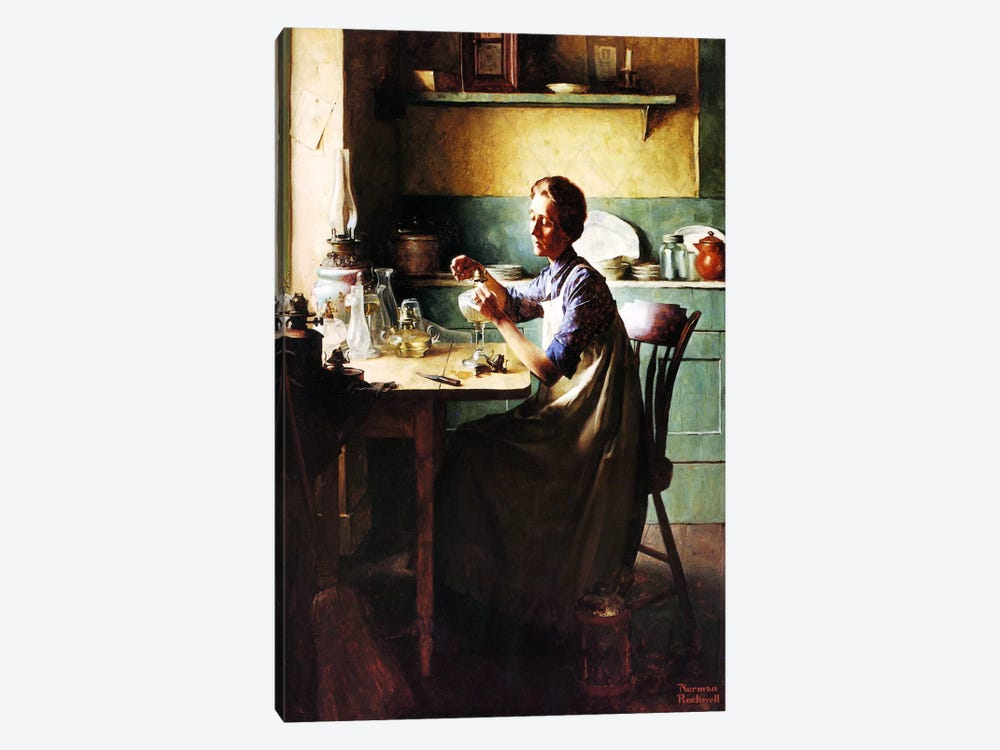 But You'll Have Light at the Touch of a Finger by Norman Rockwell 1-piece Canvas Wall Art