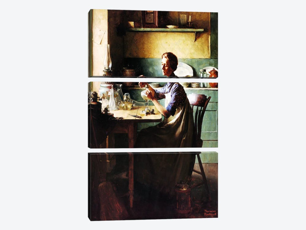 But You'll Have Light at the Touch of a Finger by Norman Rockwell 3-piece Canvas Art