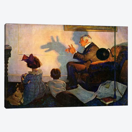 The Children's Hour Canvas Print #NRL326} by Norman Rockwell Art Print