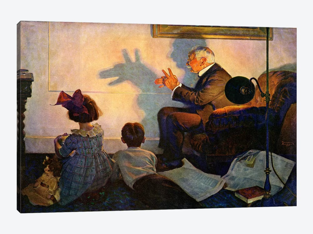 The Children's Hour by Norman Rockwell 1-piece Canvas Art Print