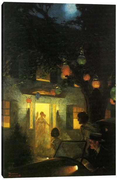 And the Symbol of Welcome Is Light by Norman Rockwell Canvas Art Print