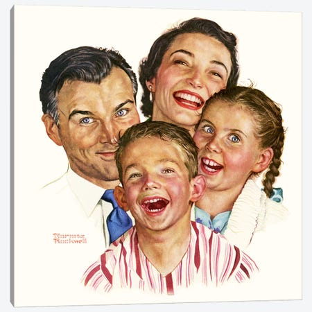 The Greatest Joys Are Shared Canvas Print #NRL333} by Norman Rockwell Canvas Art Print