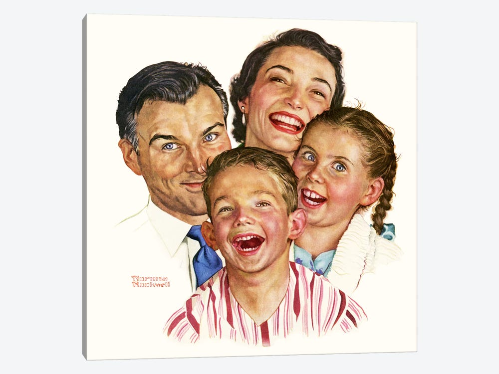 The Greatest Joys Are Shared by Norman Rockwell 1-piece Canvas Art Print
