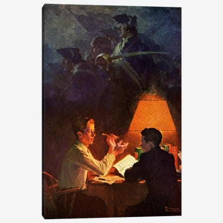 Ethan Allen and His Green Mountain Boys Canvas Print #NRL334} by Norman Rockwell Canvas Wall Art