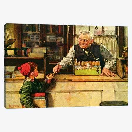 His First Pencil Canvas Print #NRL336} by Norman Rockwell Canvas Wall Art