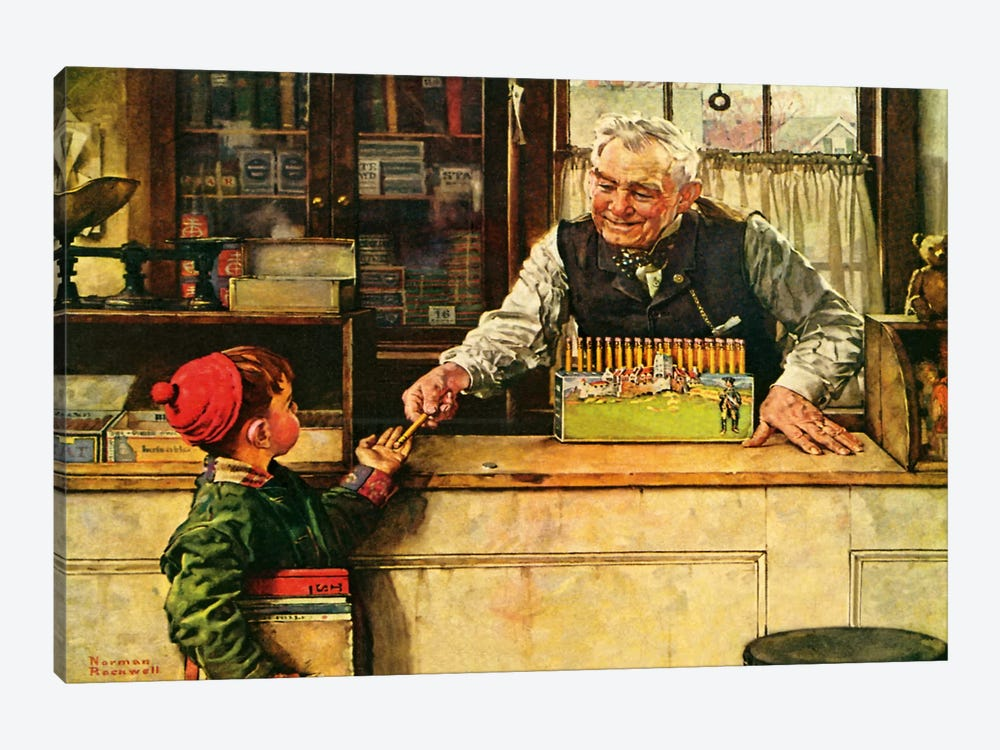 His First Pencil by Norman Rockwell 1-piece Canvas Wall Art