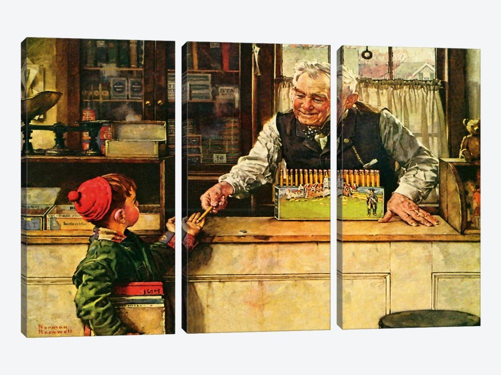 His First Pencil by Norman Rockwell 3-piece Canvas Artwork