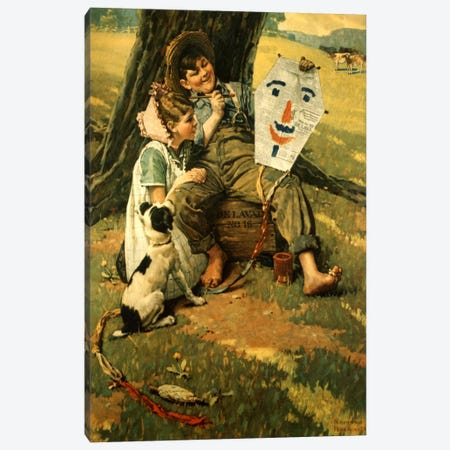 Farm Boy and Girl Sitting on Crate Canvas Print #NRL339} by Norman Rockwell Art Print