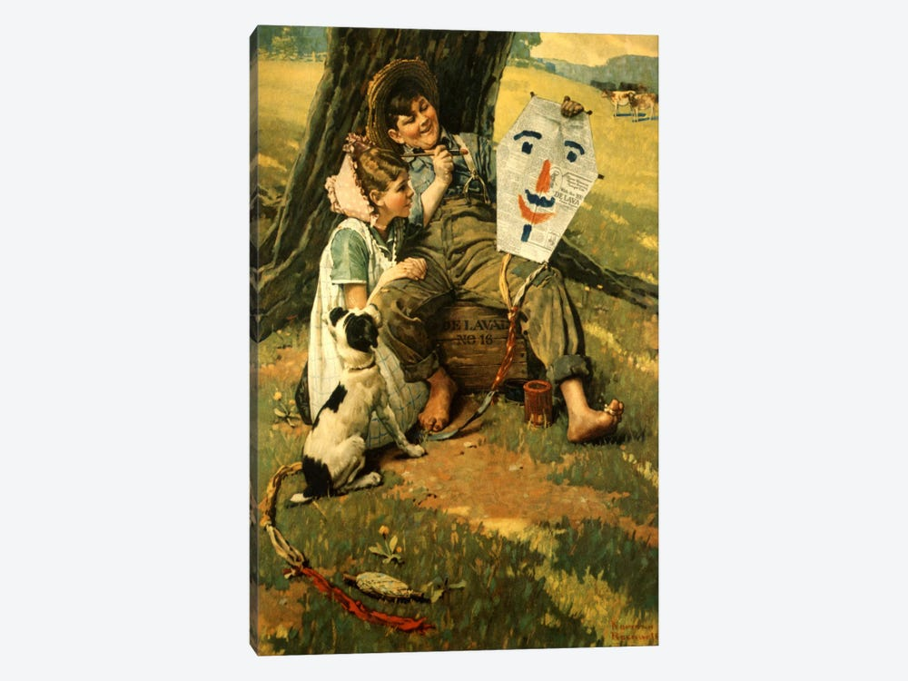 Farm Boy and Girl Sitting on Crate by Norman Rockwell 1-piece Canvas Art Print