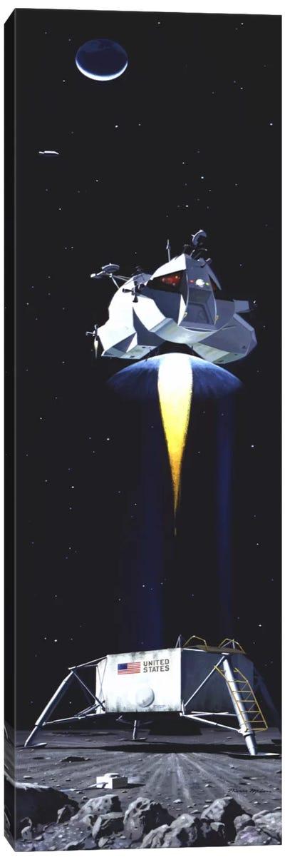 Man on the Moon Panoramic Canvas Art Print