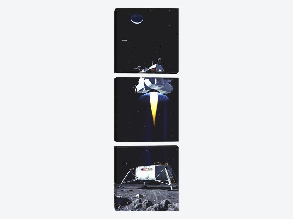 Man on the Moon Panoramic 3-piece Canvas Art Print