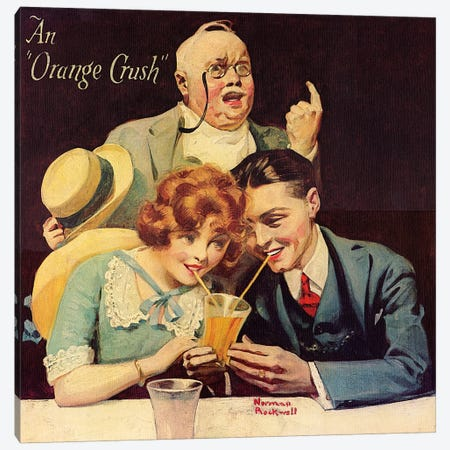 "An ""Orange Crush"" Canvas Print #NRL341} by Norman Rockwell Canvas Artwork"
