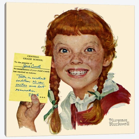 Portrait of Janie Carroll Canvas Print #NRL351} by Norman Rockwell Canvas Print