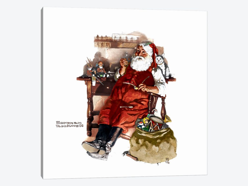 Santa with Coke by Norman Rockwell 1-piece Canvas Art