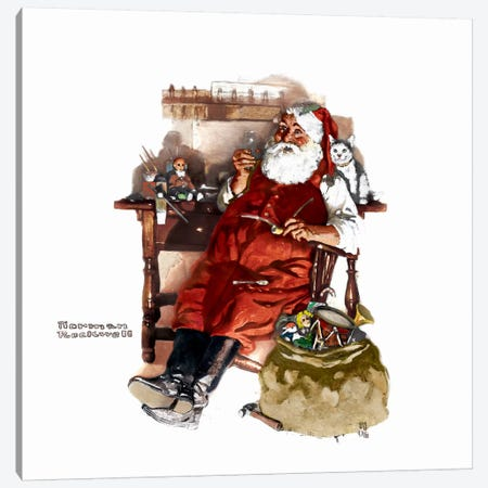 Santa with Coke Canvas Print #NRL354} by Norman Rockwell Canvas Art