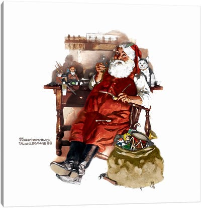 Santa with Coke Canvas Art Print
