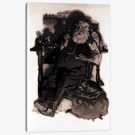 Santa with Coke Black & White Canvas Print #NRL355} by Norman Rockwell Canvas Wall Art