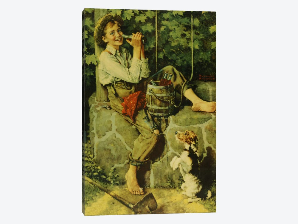 Fresh from the Well by Norman Rockwell 1-piece Canvas Art Print