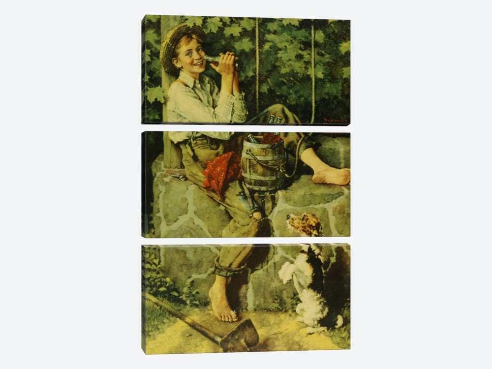 Fresh from the Well by Norman Rockwell 3-piece Art Print