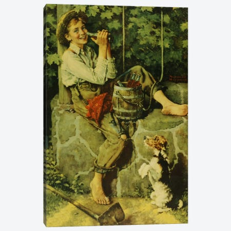 Fresh from the Well Canvas Print #NRL357} by Norman Rockwell Canvas Wall Art