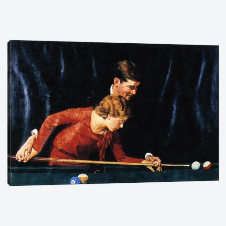 Billiards Is Easy to Learn Canvas Print #NRL359} by Norman Rockwell Canvas Art Print