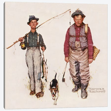 Two Old Men and Dog: The Catch Canvas Print #NRL374} by Norman Rockwell Canvas Art