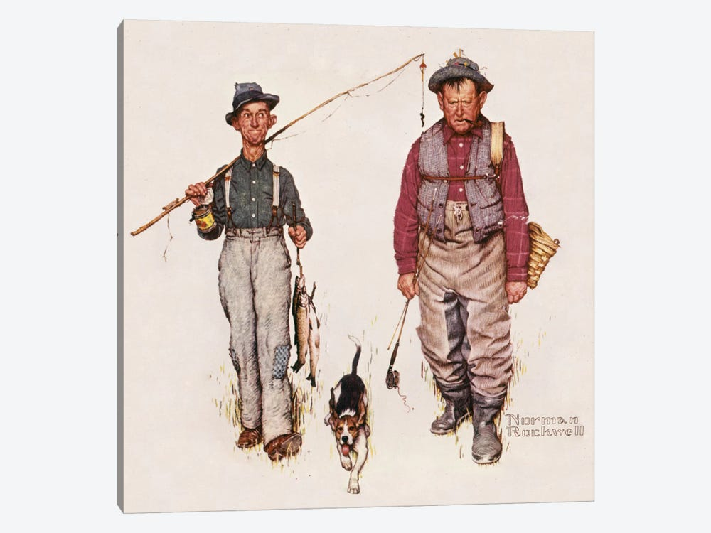 Two Old Men and Dog: The Catch by Norman Rockwell 1-piece Canvas Art