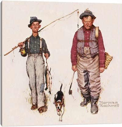 Two Old Men and Dog: The Catch Canvas Art Print