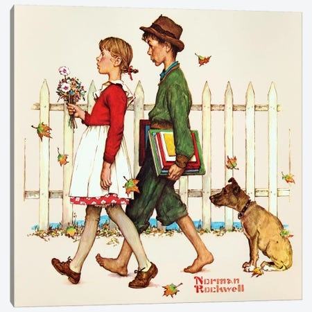 Young Love: Walking to School Canvas Print #NRL375} by Norman Rockwell Canvas Wall Art