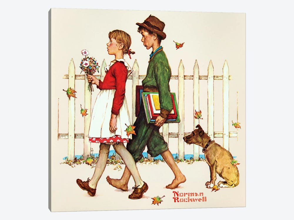 Young Love: Walking to School by Norman Rockwell 1-piece Art Print