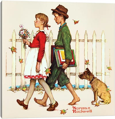 Young Love: Walking to School Canvas Art Print
