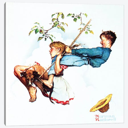 Young Love: Swinging Canvas Print #NRL377} by Norman Rockwell Canvas Artwork