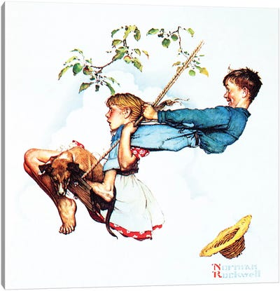 Young Love: Swinging by Norman Rockwell Canvas Artwork