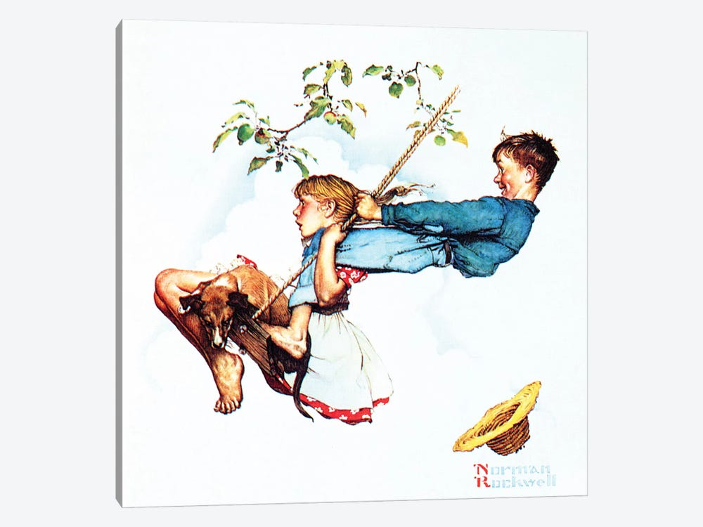 Young Love: Swinging by Norman Rockwell 1-piece Canvas Print