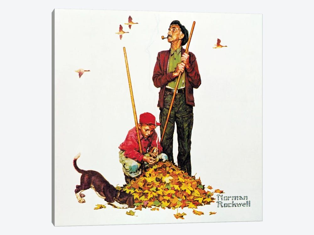 Grandpa and Me: Raking Leaves by Norman Rockwell 1-piece Canvas Art Print
