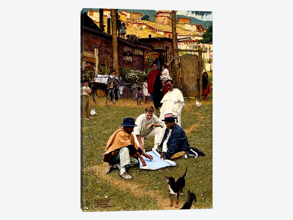 The Peace Corps in Bogota, Colombia by Norman Rockwell 1-piece Art Print
