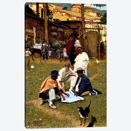 The Peace Corps in Bogota, Colombia Canvas Print #NRL37} by Norman Rockwell Canvas Artwork