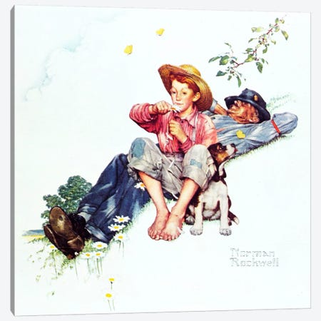 Grandpa and Me: Picking Daisies Canvas Print #NRL380} by Norman Rockwell Canvas Wall Art