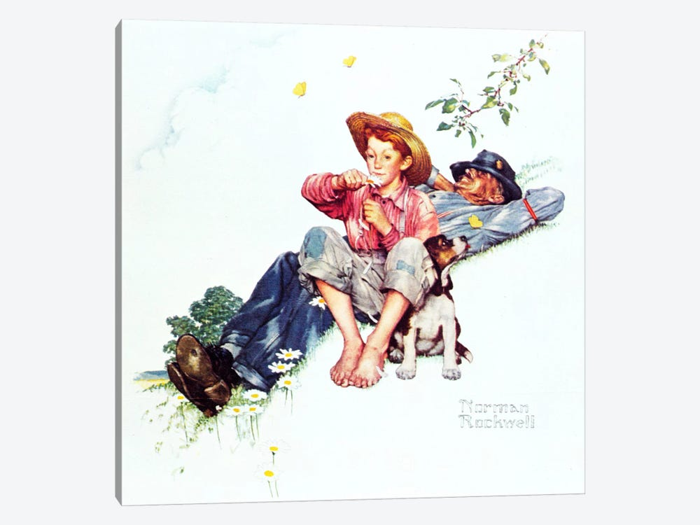 Grandpa and Me: Picking Daisies by Norman Rockwell 1-piece Canvas Art Print