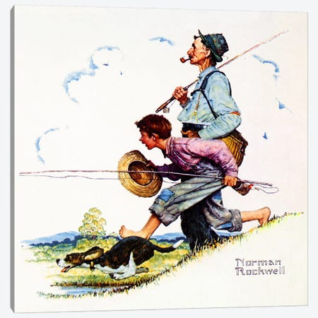 Grandpa and Me: Fishing Canvas Print #NRL381} by Norman Rockwell Canvas Artwork